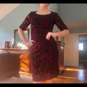 Anthropologie Burgundy Floral Ruched Dress